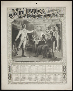 Calendar for John Hancock Mutual Life Insurance Company, Boston, Mass., 1887