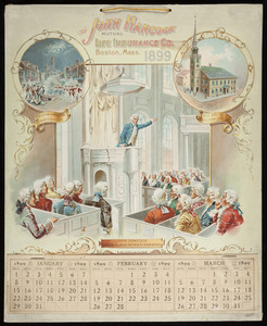 Calendar for John Hancock Mutual Life Insurance Company, Boston, Mass., 1899