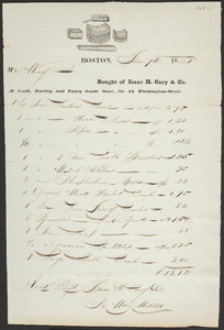 Billhead for Isaac H. Cary & Co., at comb, jewelry and fancy goods store, No. 54 Washington Street, Boston, Mass., dated June 7, 1821