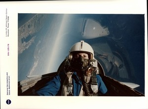 Christa McAuliffe in the T-38 jet trainer