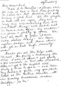 Christa McAuliffe to Parents 9/9/85