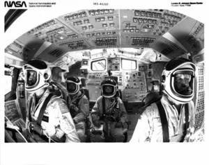 Crewmembers During Training Session in Flight Deck Simulation