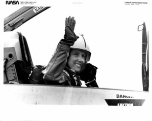 Christa McAuliffe at Ellington Air Force Base for Training Flight in T-38 Talon Jet Aircraft.