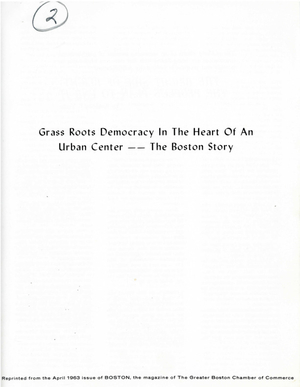Boston magazine article: Grass roots democracy in the heart of an urban center - the Boston story