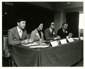 A panel discussion at Sawyer Business School