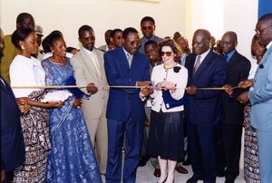 Vice President Marguerite Dennis and group at the ribbon cutting for Suffolk University Dakar campus