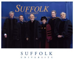 Rudy Giuliani and others at the 2006 Suffolk University Law School commencement
