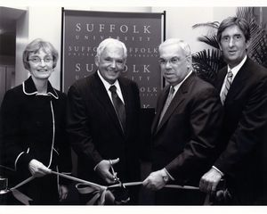 Ribbon cutting ceremony for Suffolk University's 10 West Street residence hall