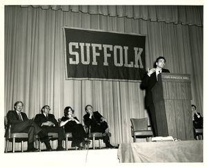 Ralph Nader speaking at a Suffolk University event
