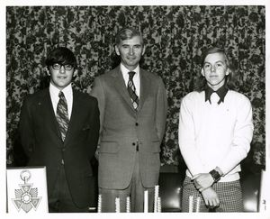 Francis X. Flannery with two members of Suffolk University's Alpha Phi Omega (Business) chapter, circa 1960s