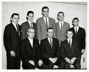 Attendees at a Suffolk University Delta Sigma Pi induction ceremony, 1962