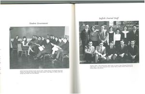 Student Government and Suffolk Journal staff group photographs from the 1966 issue of Suffolk University's Beacon yearbook