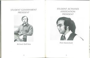 Student Government and Student Activities Association presidents from the 1971 issue of Suffolk University's Beacon yearbook