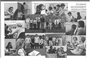 Student Government meeting photograph from the 1978 issue of Suffolk University's Beacon yearbook