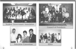 Student Government Association, Council of Presidents, Executive Committee, and EDSA from the 1989 issue of Suffolk University's Beacon yearbook