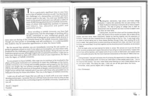 Messages from President David J. Sargent (1989-2010) and Gary Christenson from the 1990 issue of Suffolk University's Beacon yearbook