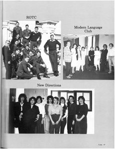 The ROTC, the Modern Language Club, and New Directions, from the 1984 Suffolk University Beacon yearbook