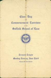 1912 Suffolk University Law School commencement program (cover)