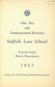 1927 Suffolk University Law School commencement program (cover)