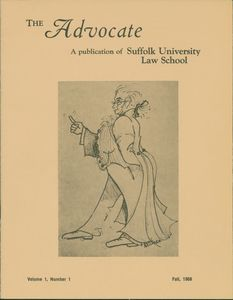 Front cover of the first issue of Suffolk University Law School's Advocate magazine