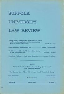 Front cover of the first issue of Suffolk University Law School's Law Review
