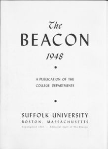 Inside front cover of the 1948 Suffolk University Beacon yearbook