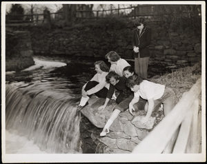 Howard Seminary for Women - Students at town park waterfall
