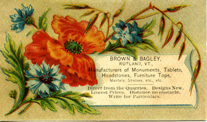 Brown & Bagley, manufacturers of monuments, tablets, headstones, furniture tops, mantels, shelves, etc., etc.
