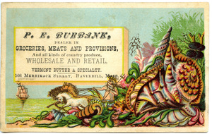 P. E. Burbank, dealer in groceries, meats and provisions