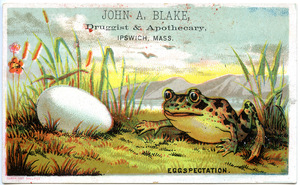 John A. Blake, druggist and apothecary, eggspectation