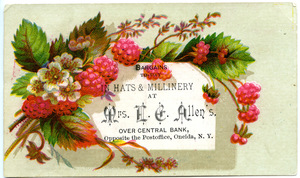 Bargains to-day in hats & millinery at Mrs. L. E. Allen's