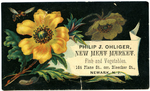Philip J. Ohliger, new meat market, fish and vegetables