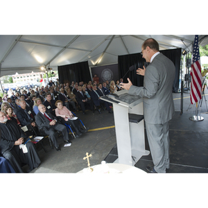 President Joseph E. Aoun speaks to the crowd during a groundbreaking ceremony