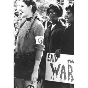 African American and white female students at an anti-war protest