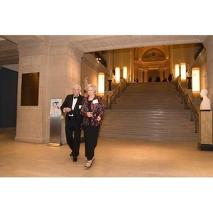 A couple in the Museum of Fine Arts for President Aoun's inauguration celebration
