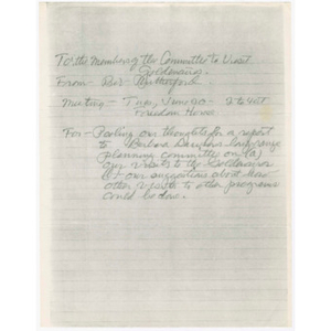 Draft of letter to the members of the Committee to Visit Goldenaires and notes about Goldenaires