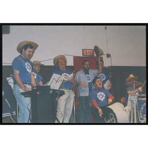 Bunker Hillbilly alumni perform with their instruments at a reunion event