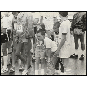 Adults and children gather to run the Battle of Bunker Hill Road Race