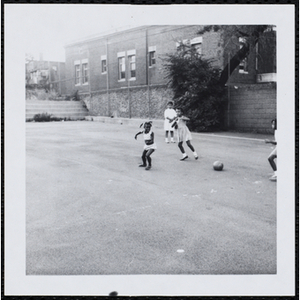 Contestants playing a soccer game in the Little Sister Contest
