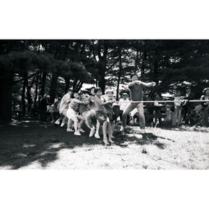 Children and young adults play tug-of-war in a wooded picnic area