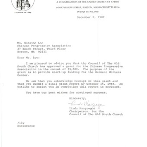 Funding decision letter from the Old South Fund awarding the Chinese Progressive Association a $5,000 grant for the Garment Workers' Center