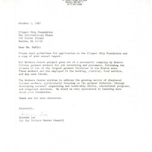 Correspondence with the Clipper Ship Foundation concerning grant application guidelines