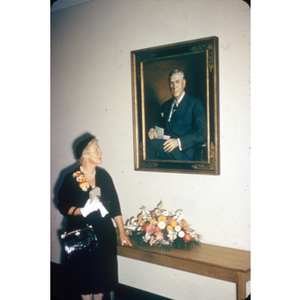 Irene Rich, with portrait of George Clifford, Clifford Lounge