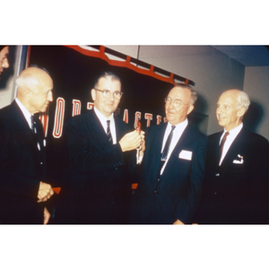 Asa Knowles Accepting Keys to Univ. with Carl Ell, (?) and Bryon Elliot, Sept. 8, 1959