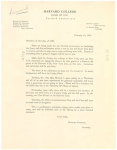 Circular letter from Harvard College, Class of 1890 to W. E. B. Du Bois