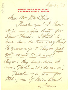 Letter from Isabel Eaton to W. E. B. Du Bois