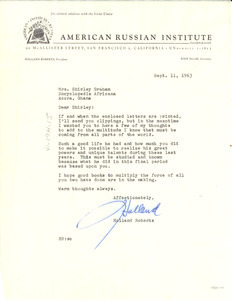 Letter from American Russian Institute to Shirley Graham Du Bois