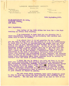 Letter from A. M. Chirgwin to W. E. B. Du Bois