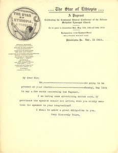 Circular letter from the Star of Ethiopia to unidentified correspondent