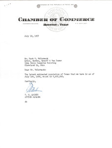 Letter from Houston Texas Chamber of Commerce to Mark H. McCormack